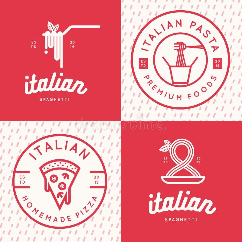 Grupo de logotipo italiano do alimento, crachás, bandeiras, emblema para o fast food, pizza, espaguete, restaurante da massa ilustração do vetor