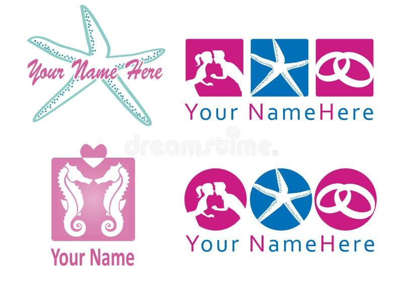 Grupo de logotipo para o planejador do casamento e o co. ilustração do vetor
