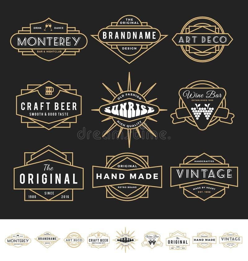 Grupo de logotipo retro do crachá para o produto do vintage ilustração stock