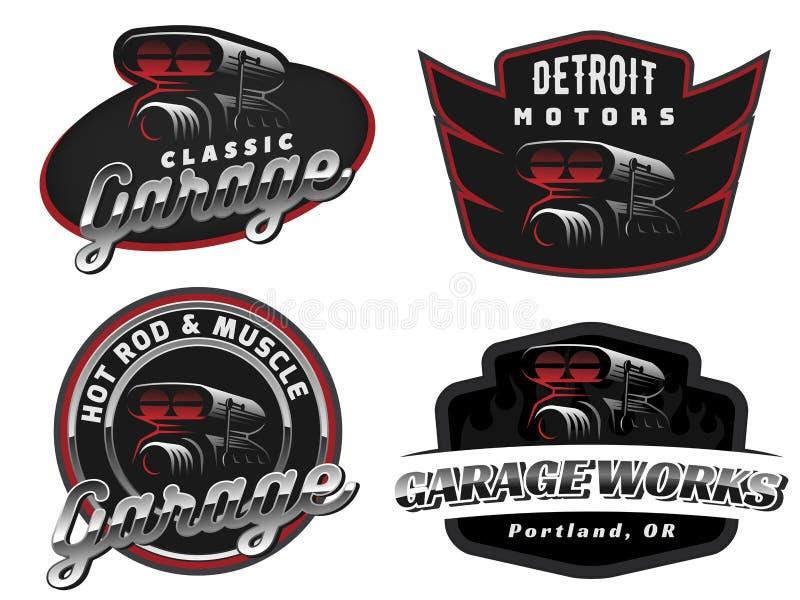 Grupo de logotipo retro, de emblemas ou de crachás do carro ilustração royalty free