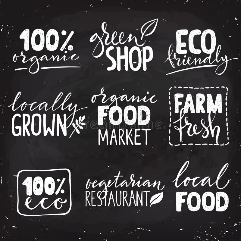 Grupo de logotipo saudável do alimento nove com rotulação Combinações tiradas mão do texto do alimento biológico ilustração stock