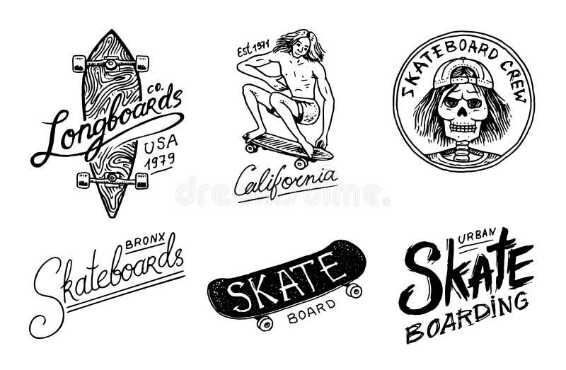 Grupo de logotipo Skateboarding das etiquetas Ilustração do vetor com o esqueleto para o skater Projeto urbano para crachás, t-sh ilustração stock