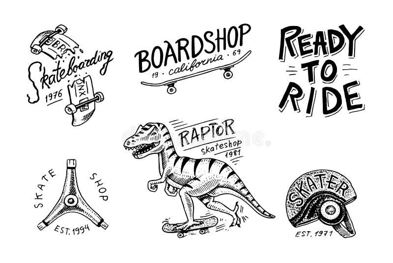 Grupo de logotipo Skateboarding das etiquetas O rex do tyrannosaur do dinossauro do skater monta na placa Projeto urbano para cra ilustração royalty free