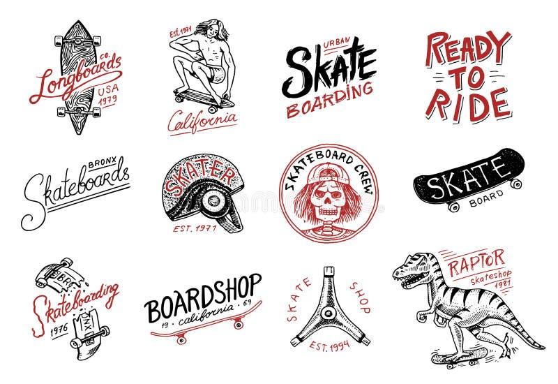Grupo de logotipo Skateboarding das etiquetas O rex do tyrannosaur do dinossauro do skater monta na placa Projeto urbano para cra ilustração stock