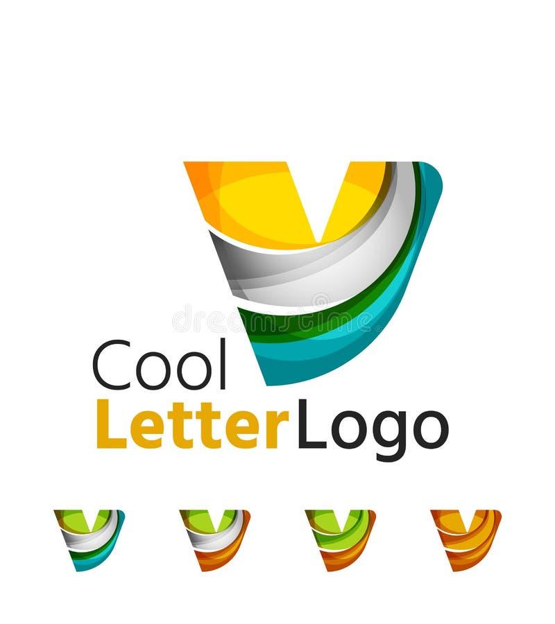 Grupo de logotipos abstratos da empresa da letra de V Negócios ilustração do vetor