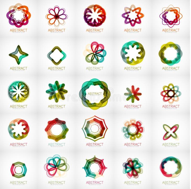 Grupo de logotipos abstratos da forma da flor da estrela ilustração royalty free