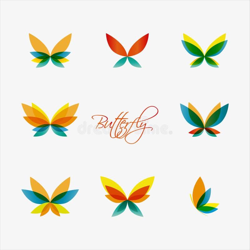 Grupo de logotipos coloridos das borboletas Vetor ilustração do vetor
