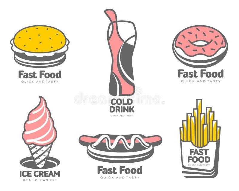 Grupo de logotipos com fast food ilustração royalty free