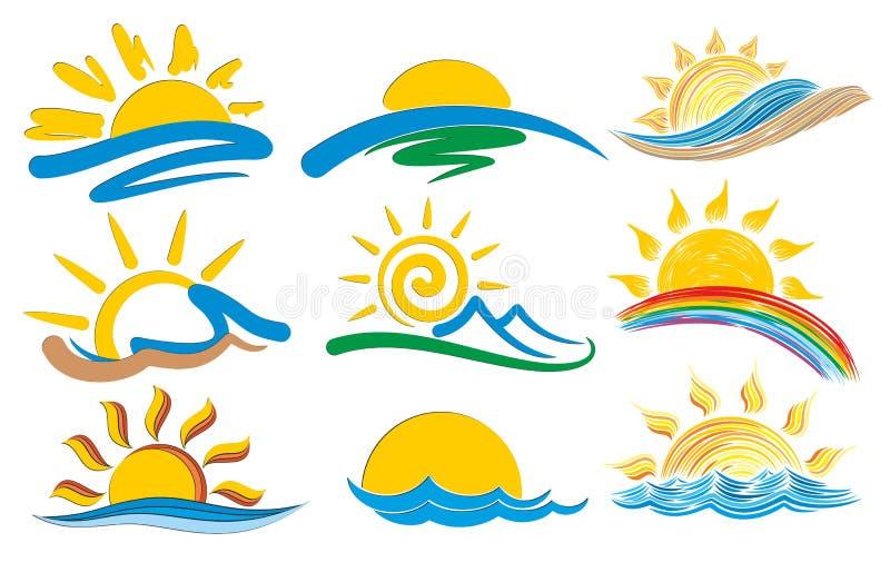 Grupo de logotipos com o sol
