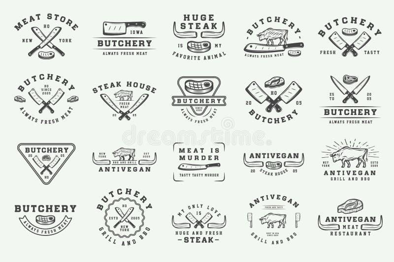 Grupo de logotipos da carne, do bife ou do BBQ do açougue do vintage, emblemas, crachá ilustração stock