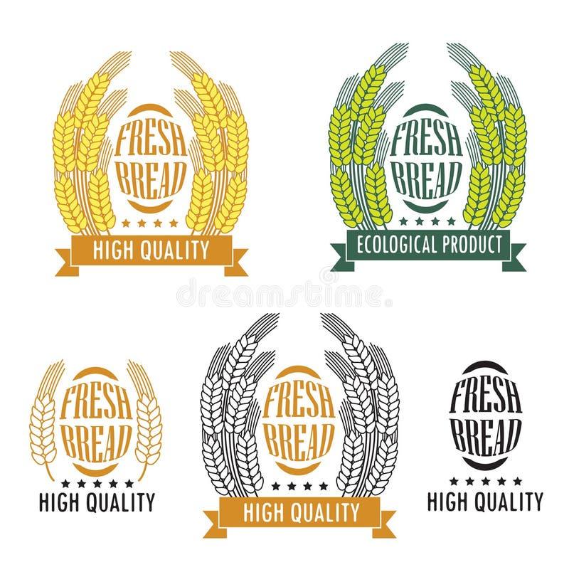 Grupo de logotipos da padaria e da loja do pão, de etiquetas, de crachás e de projeto ilustração royalty free