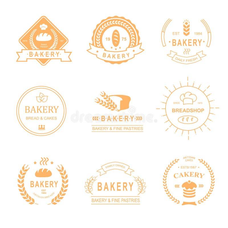 Grupo de logotipos da padaria e da loja do pão, etiquetas, crachás ilustração do vetor