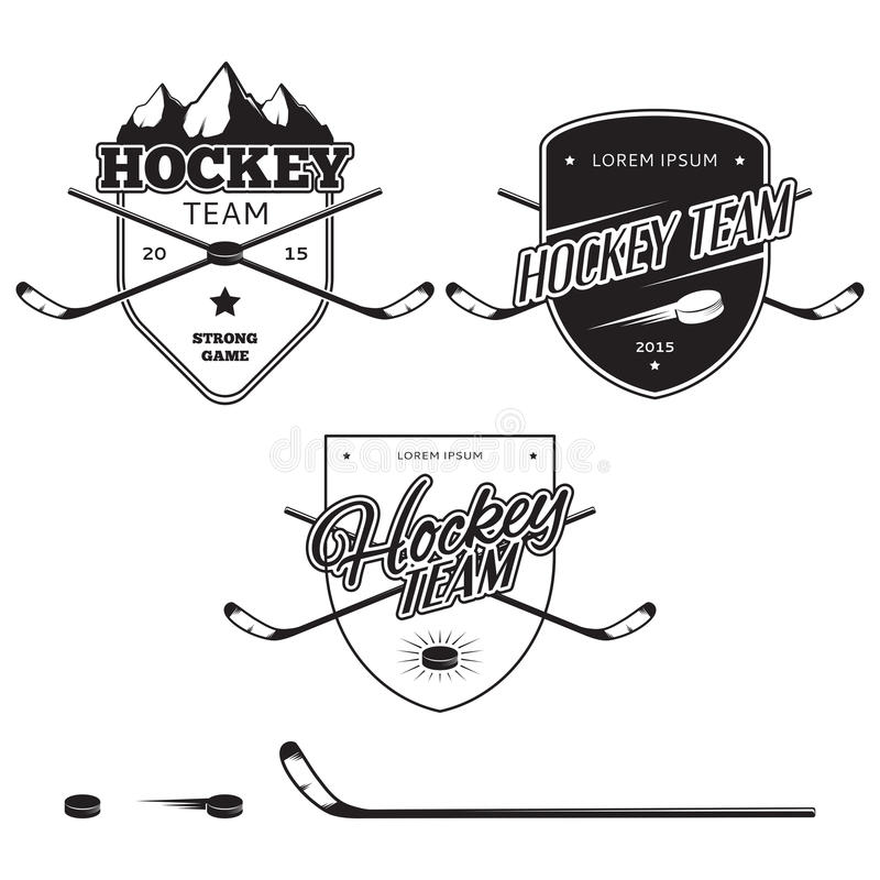 Grupo de logotipos das equipes de hóquei em gelo, de crachás e de elementos do projeto ilustração stock