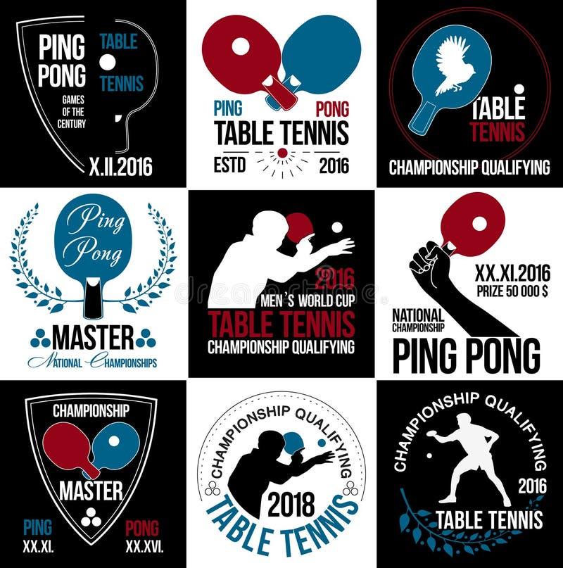 Grupo de logotipos, de etiquetas e de crachás do tênis de mesa ilustração do vetor