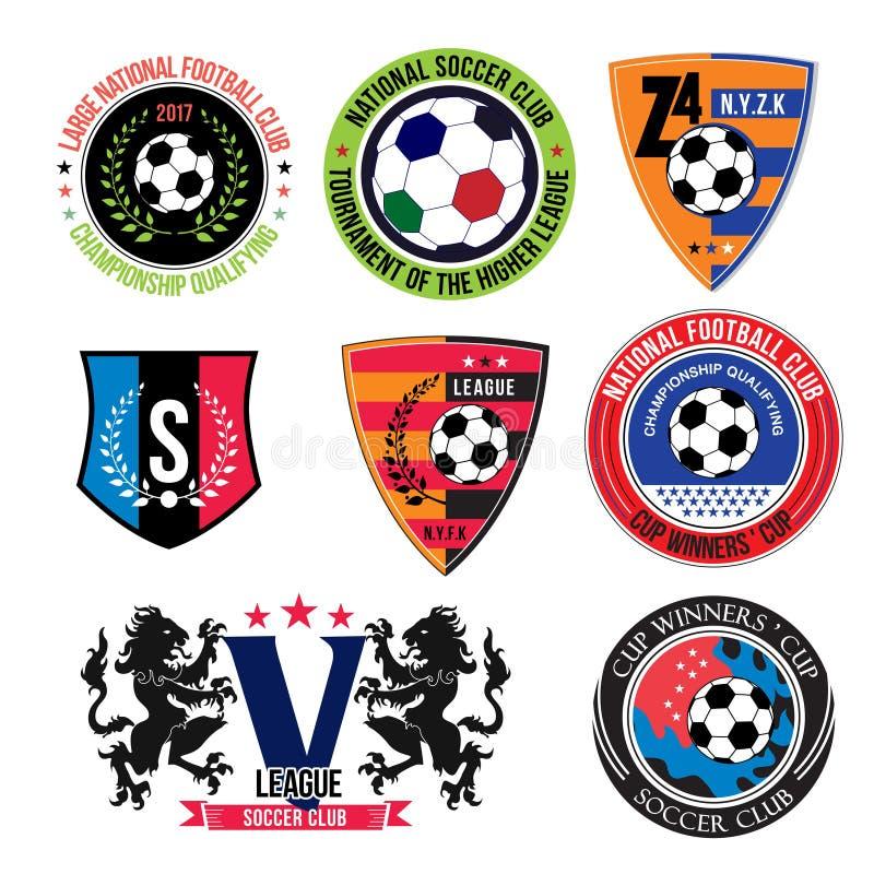 Grupo de logotipos do futebol, de crachás e de elementos do projeto ilustração do vetor