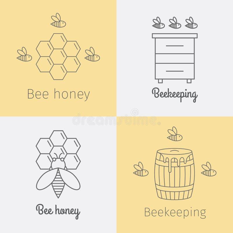 Grupo de logotipos do mel da abelha Linha fina ícones ajustados Vetor ilustração stock