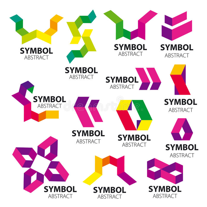 Grupo de logotipos do vetor dos módulos geométricos ilustração royalty free