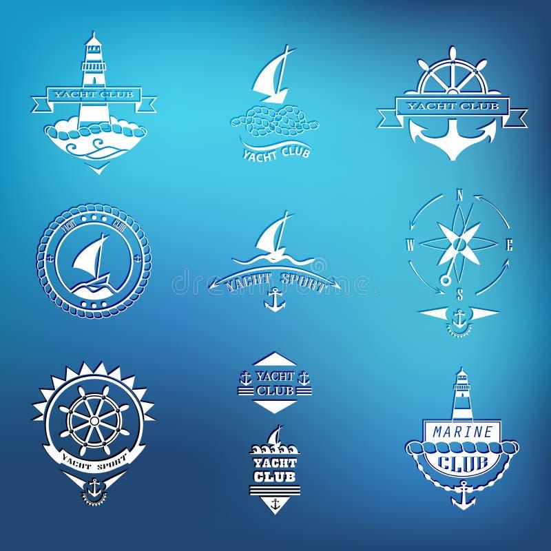Grupo de logotipos do yacht club no fundo borrado ilustração do vetor