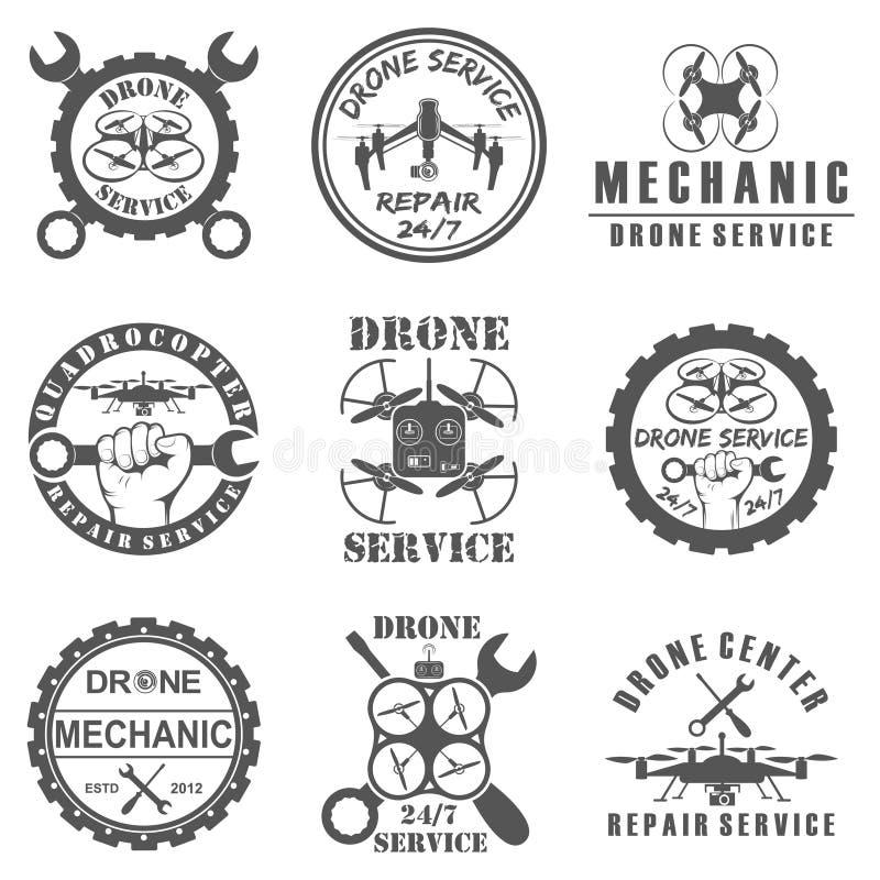 Grupo de logotipos do zangão, de crachás, de emblemas e de elementos do projeto ilustração stock