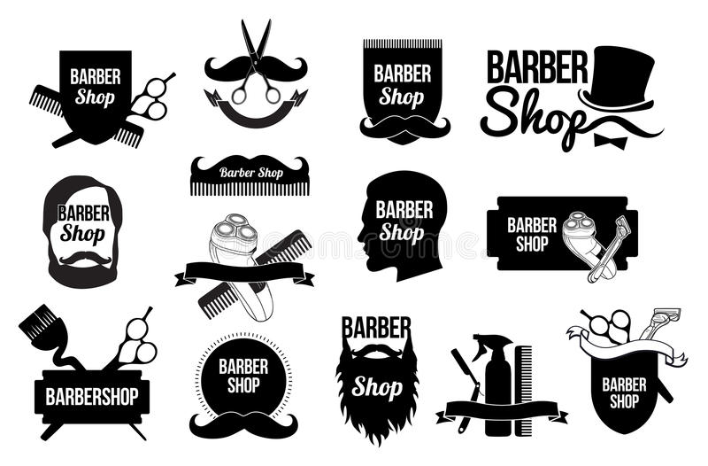 Grupo de logotipos e de projetos da barbearia ilustração royalty free