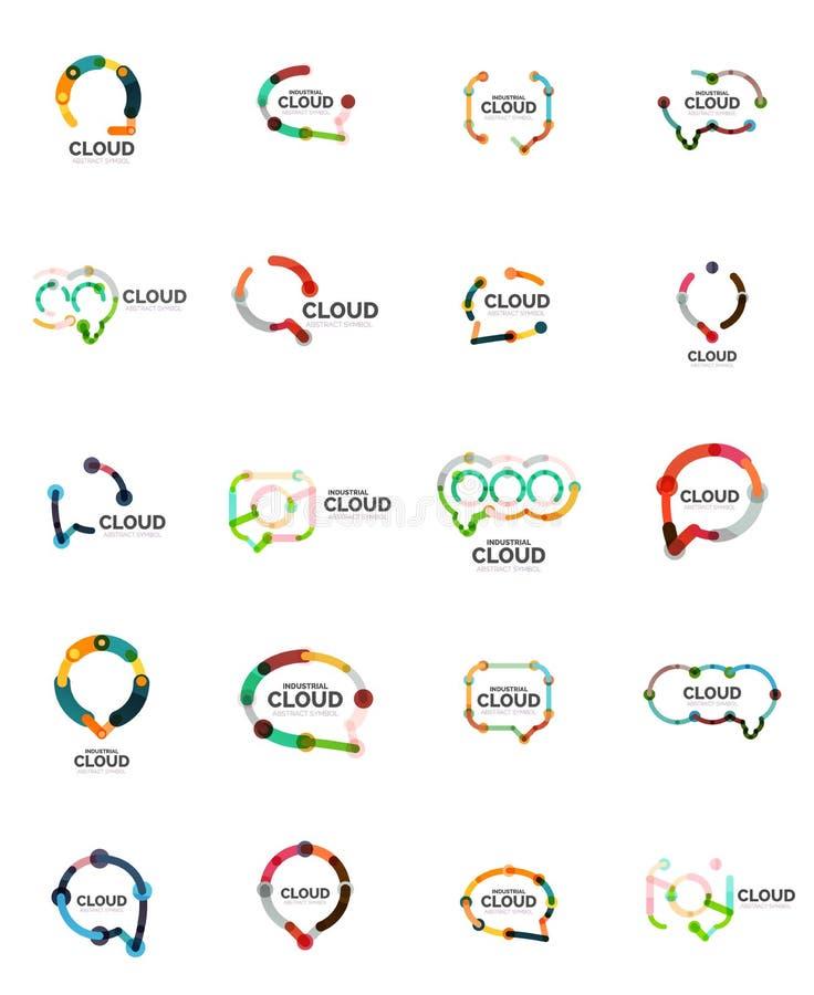 Grupo de logotipos lineares lisos da nuvem do discurso do projeto Fale bolhas, linha fina industrial geométrica moderna ícones ilustração do vetor