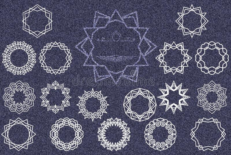 Grupo de logotipos ou de quadros simples do molde Elementos brancos do projeto no fundo da sarja de Nimes ilustração royalty free