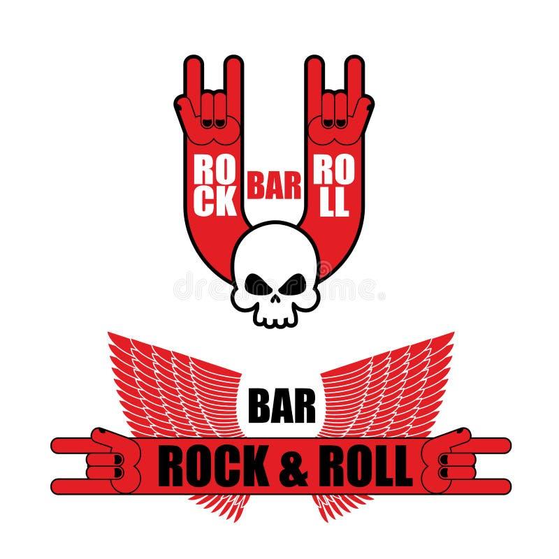 Grupo de logotipos para a barra do rock and roll Sinal e asas da rocha da mão te ilustração royalty free
