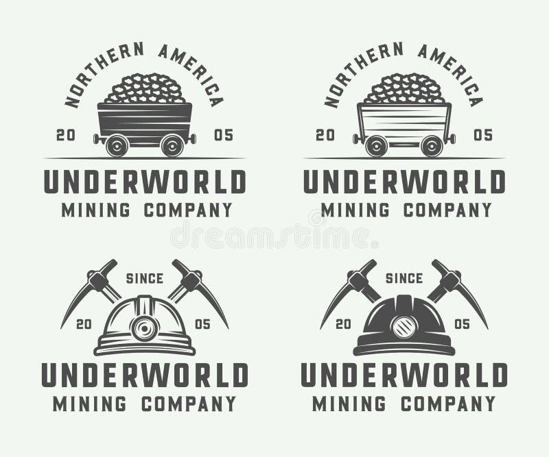 Grupo de logotipos retros da mineração ou da construção, crachás, emblemas ilustração royalty free