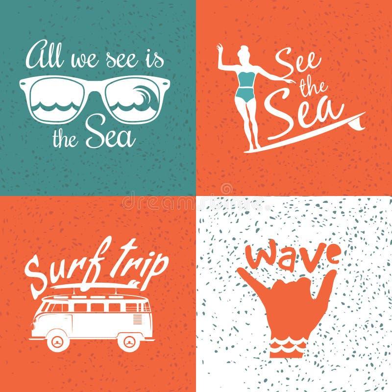 Grupo de logotipos surfando do vintage ilustração stock