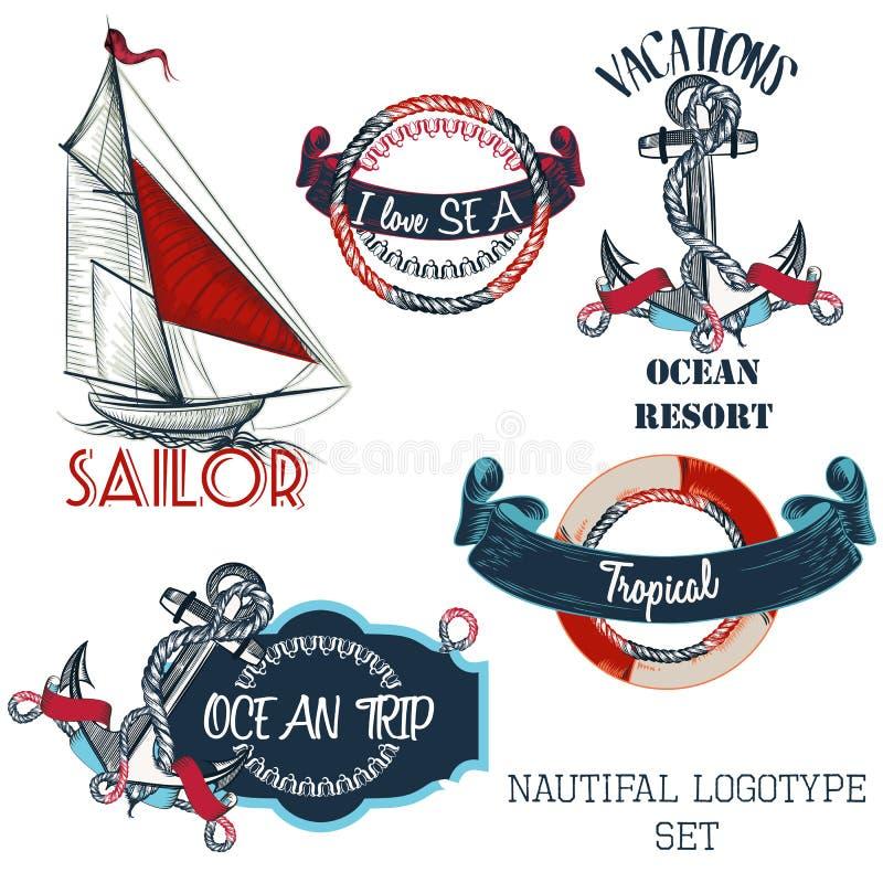 Grupo de logotypes náuticos do vetor para o projeto ilustração stock