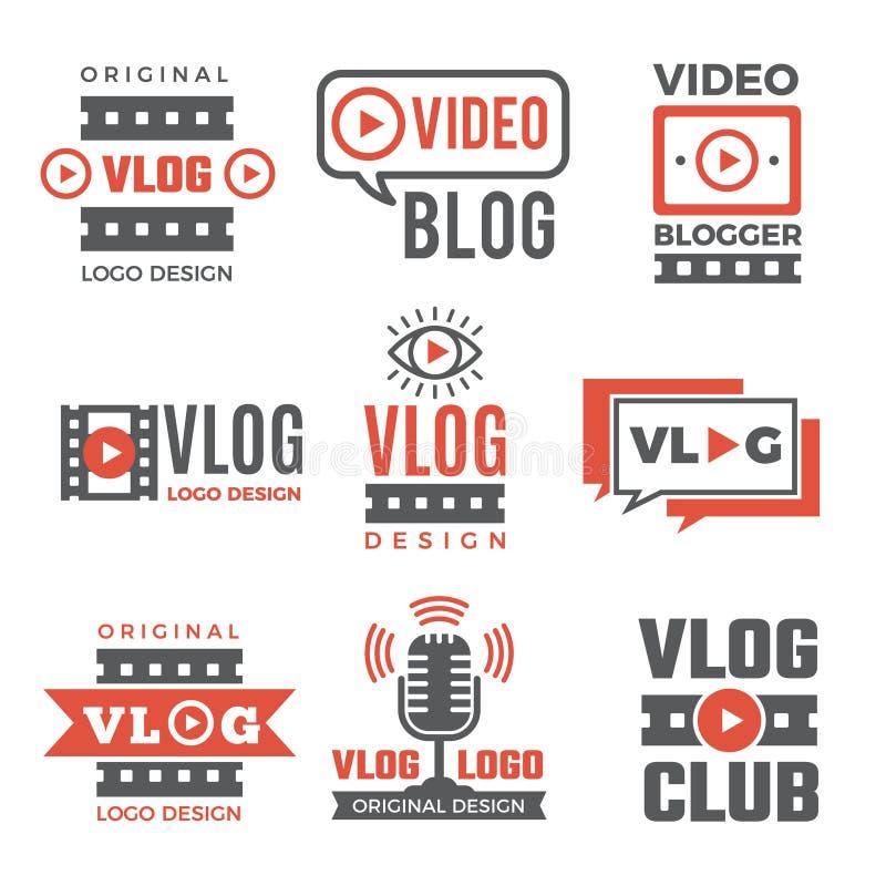 Grupo de logotypes para os bloggers video ilustração do vetor