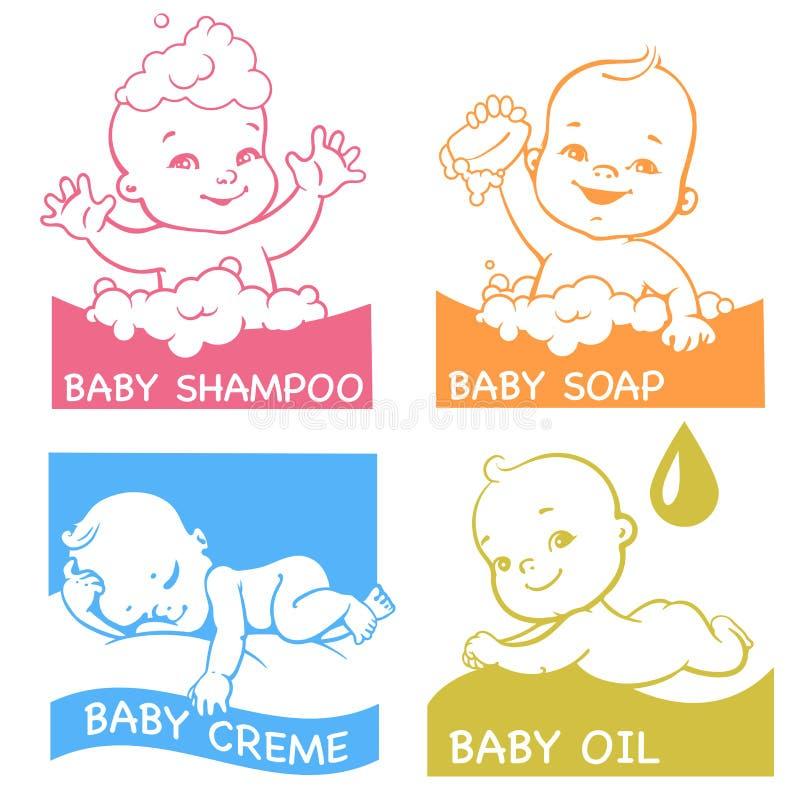 Grupo de logotypes para produtos do cuidado do bebê ilustração royalty free