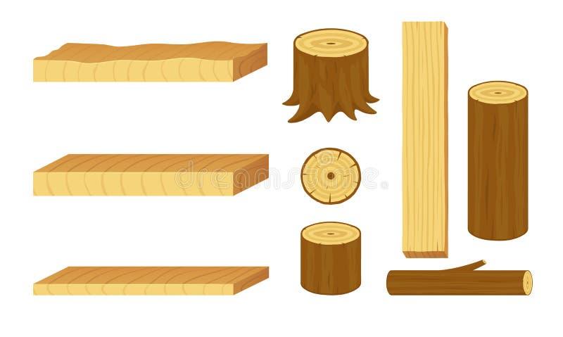 Grupo de logs, de cotoes, de ramos, de troncos e de placas de madeira ilustração royalty free