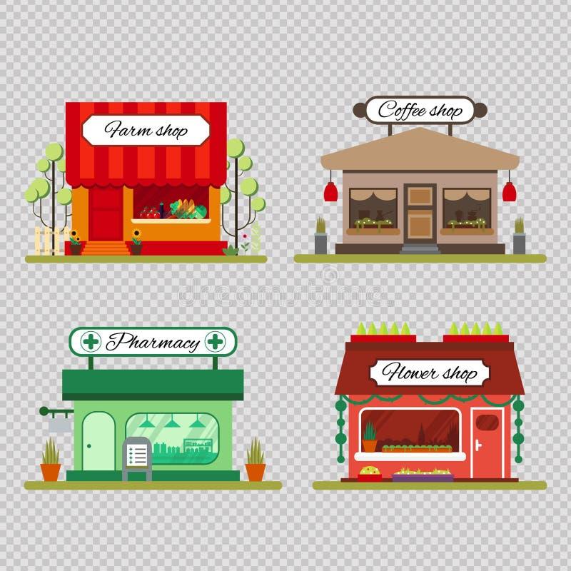 Grupo de lojas diferentes no estilo liso - loja dos produtos agrícolas, do café e de flor - vector o estoque da ilustração r ilustração do vetor