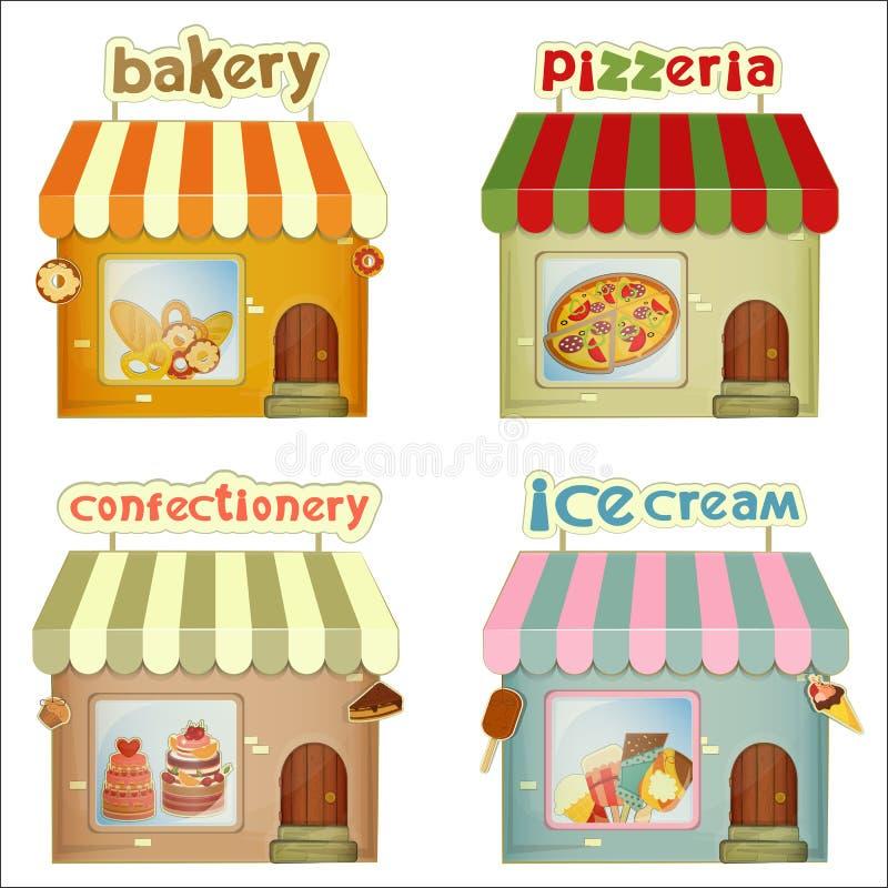 Grupo de lojas dos desenhos animados ilustração stock