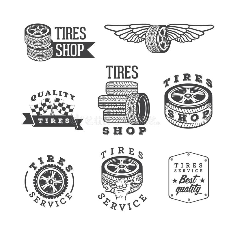 Grupo de lojas dos pneus e de emblemas do serviço, elementos do projeto do vetor ilustração stock
