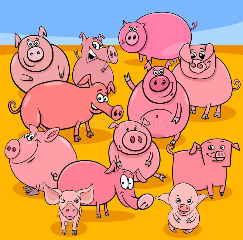 Grupo de los caracteres del animal del campo de cerdos de la historieta stock de ilustración