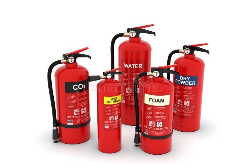 Grupo de los extintores, diversos tipos fotos de archivo