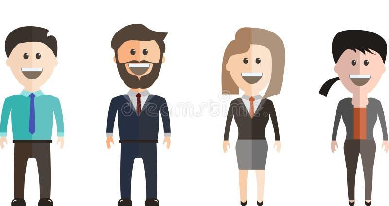 Grupo de los hombres de negocios y de las mujeres de negocios que se colocan, gente en el trabajo con apretón de manos en el fond libre illustration
