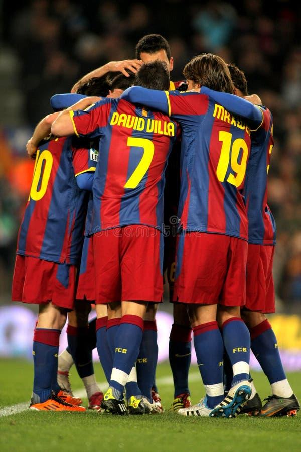 Grupo de los jugadores de FC Barcelona imágenes de archivo libres de regalías