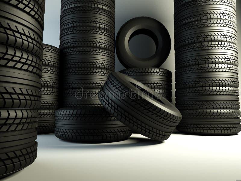 Grupo de los neumáticos ilustración del vector