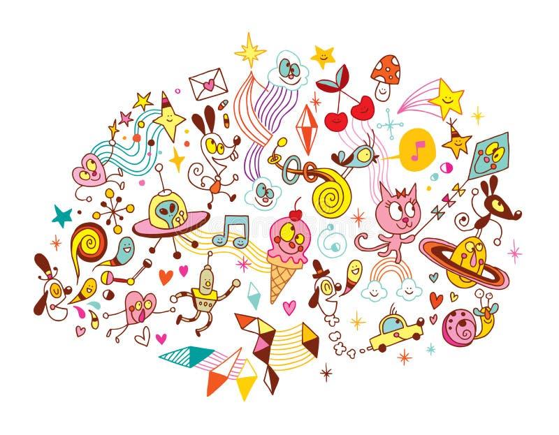 Grupo de los personajes de dibujos animados de la diversión libre illustration