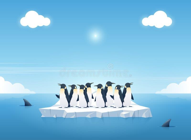 Grupo de los pingüinos en un pedazo de iceberg entre orcas en el océano Nadada de las ballenas en el océano Concepto del fondo de ilustración del vector