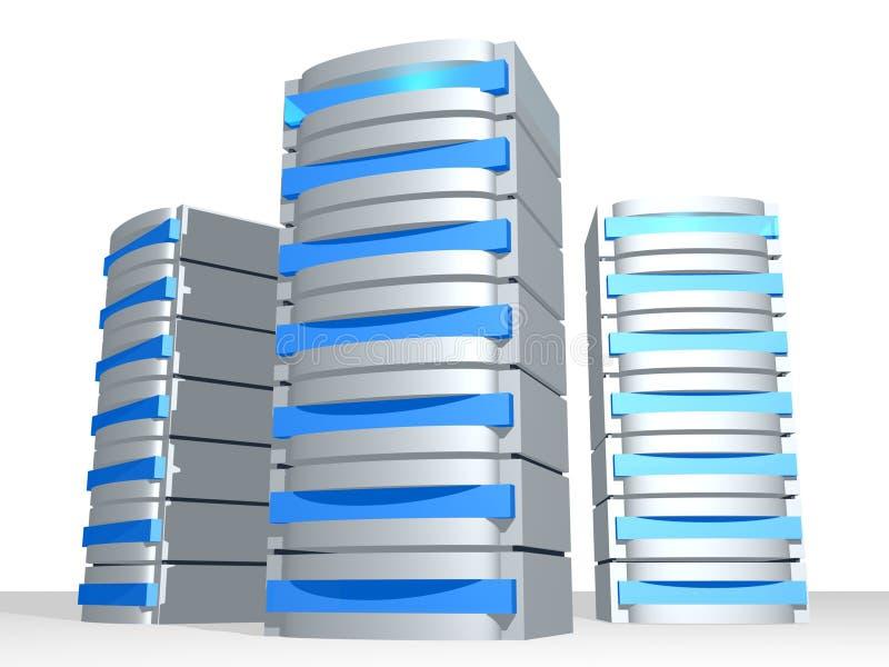 Grupo de los servidores 3D ilustración del vector