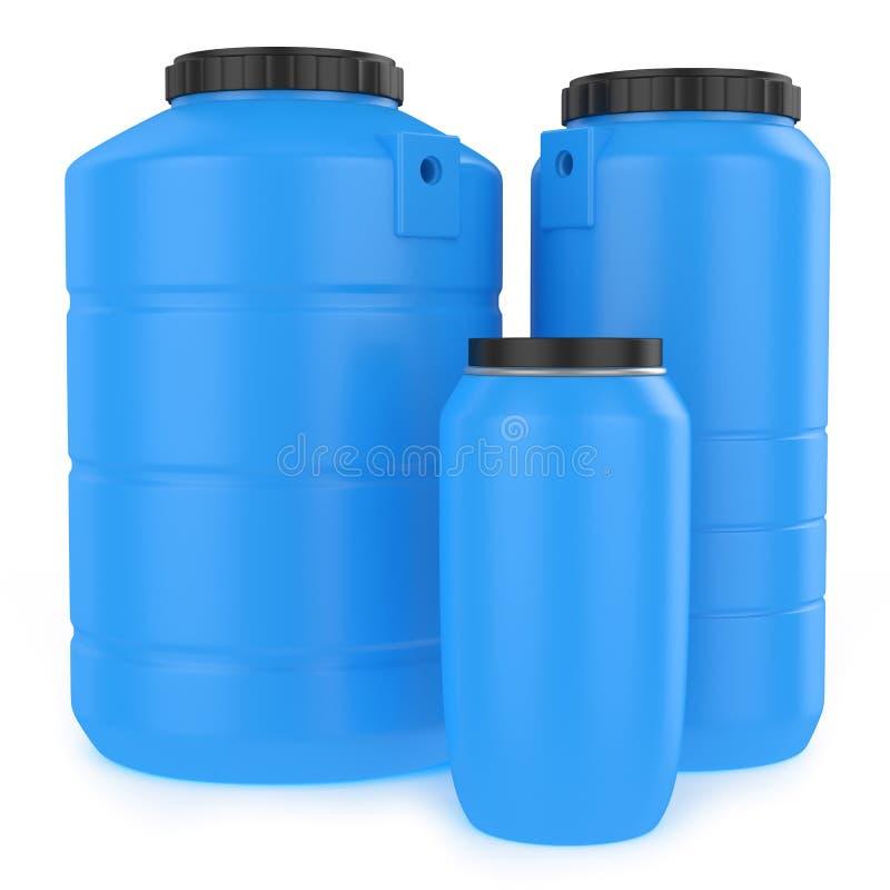 Grupo de los tanques de agua plásticos stock de ilustración