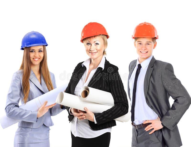 Grupo de los trabajadores de construcción fotografía de archivo