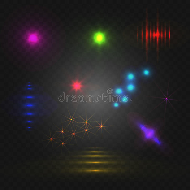 Grupo de luzes abstratas, elementos de incandescência do VETOR ilustração royalty free