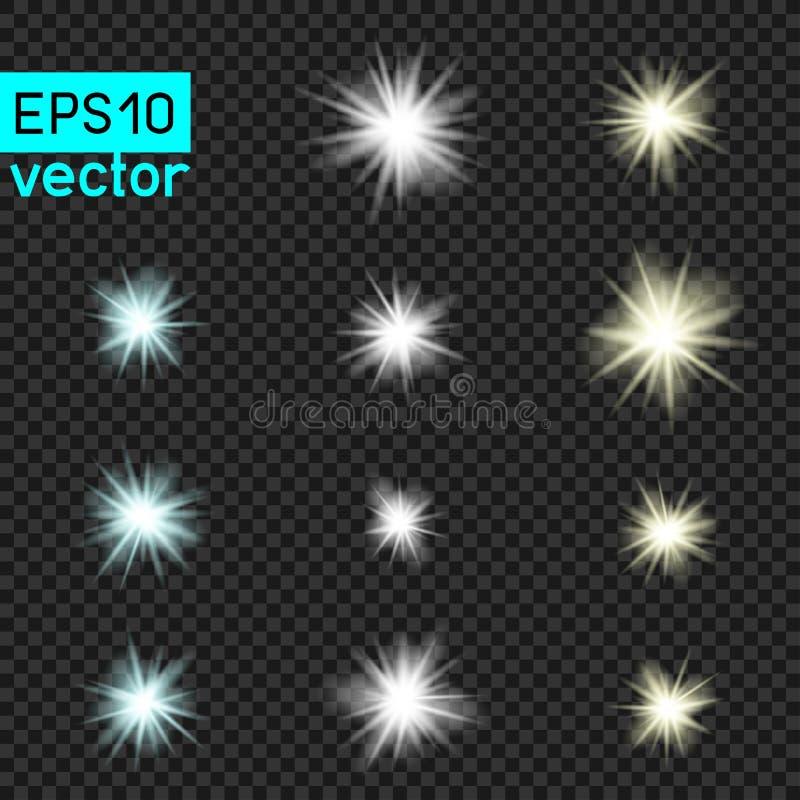 Grupo de luzes do vetor em transparente ilustração royalty free