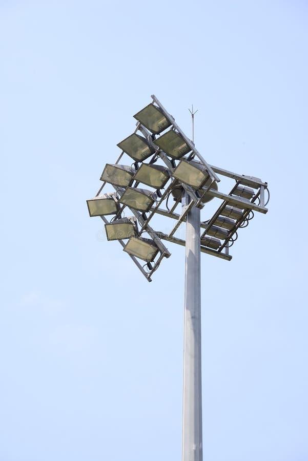 Grupo de luzes para o estádio fotografia de stock
