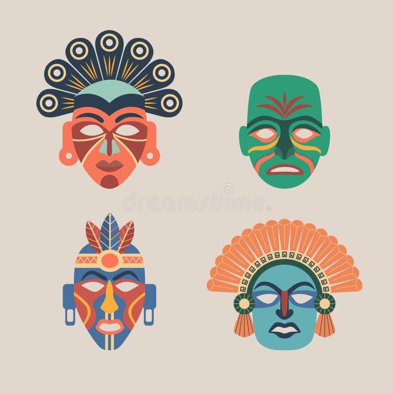 Grupo de máscaras étnicas coloridas ilustração stock